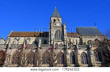 Triel sur Seine France - december 28 2016 : the historical Saint Martin church