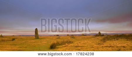 Mitchells Fold hilltop standing stones in the evening