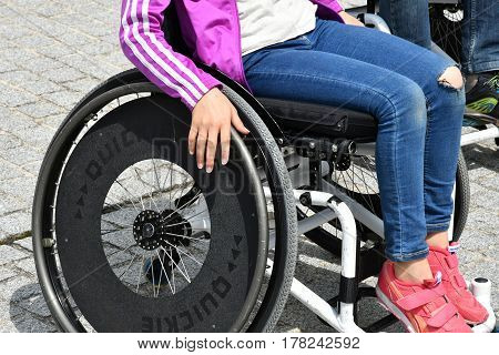 Les Mureaux France - june 6 2016 : disabled person in a wheelchair