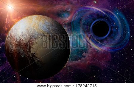 Stars are collapsing in a deep spiral attracted by the huge gravitational field of a black hole. Pluto appears in the foreground.