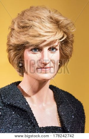 BANGKOK - JAN 29: A waxwork of Diana queen on display at Madame Tussauds on January 29 2016 in Bangkok Thailand. Madame Tussauds' newest branch hosts waxworks of numerous stars and celebrities