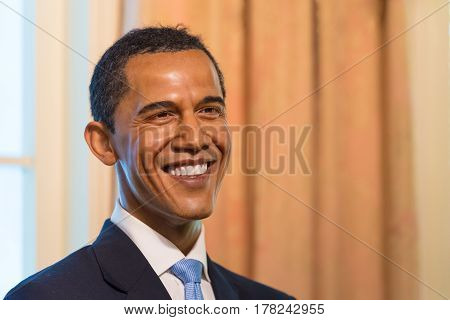Bangkok-jan 29:a Waxwork Of Barack Hussein Obama On Display At Madame Tussauds On January 29, 2016 I