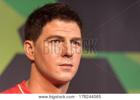 Bangkok-jan29:a Waxwork Of Steven George Gerrard On Display At Madame Tussauds On January 29, 2016 I