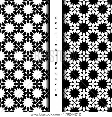 set of seamless pattern with abstract white and black chamomile. vector