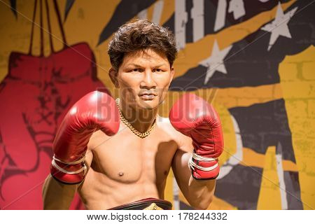 Bangkok - Jan 29: A Waxwork Of Khaosai Galaxy On Display At Madame Tussauds On January 29, 2016 In B