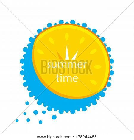 yellow sun and blue water in the form of a clock. summer. Icon. vector