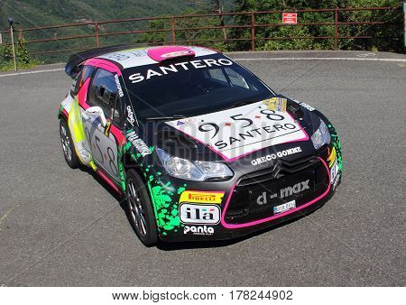 Torriglia Italy - June 06 2015-31 Rally Lantern: The Citroen DS3 conducted in race-crew Bosca Aresca (racing team Eurospeed) during the first test of speed 'of the race.