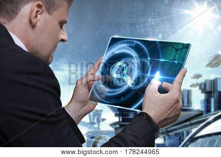 Businessman Toucbusinessman Touching Digital Touchscreen . Business Technology Internet And Network