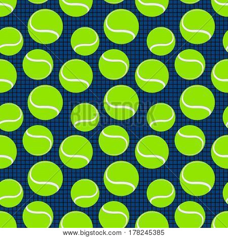 blue seamless sport pattern with green tennis balls. vector