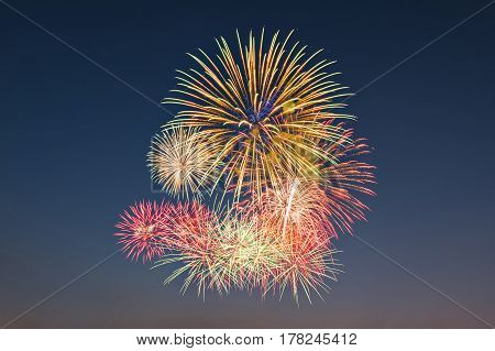 Colour Fireworks Light Up On Sky With Dazzling Display. Event And Celebrations Background Concept