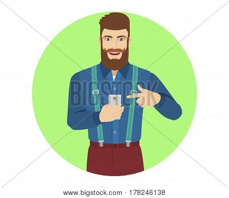 Hipster pointing at a mobile phone in his hand. Portrait of hipster in a flat style. Vector illustration.