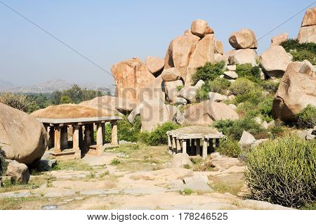 Landscape With Unique Mountain Formation At Hampi