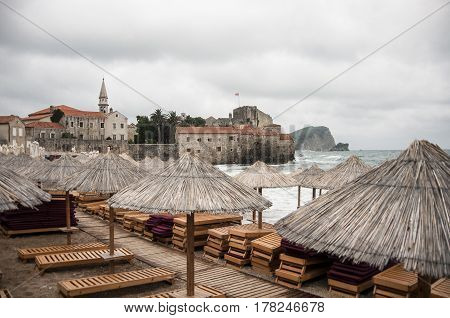 View of the old town of Budva from the beach