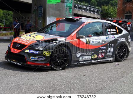 Torriglia Italy - June 06 2015-31 Rally Lantern: The Ford Focus WRC led the race crew Chentre-Florean (racing team New Driver's Team) during the first test of speed 'of the race.