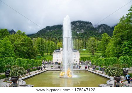 Linderhof Palace. Fountain Group Flora And Puttos On The Foreground.