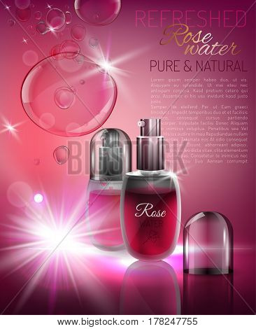 Transparent glass rose water flacon with silver elements. Beautiful vector illustration in realistic style. Cosmetic, skin care or perfumery concept in pink colours. Premium design template.