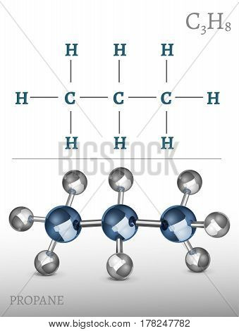 Propane molecule in 3D style. C3H8 vector illustration isolated on a dark grey background. Scientific, educational and popular-scientific concept.