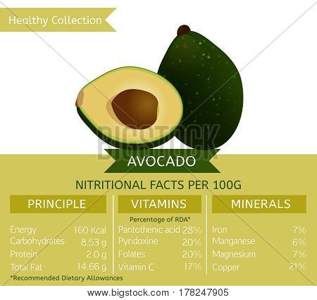 Avocado health benefits. Vector illustration with useful nutritional facts. Essential vitamins and minerals in healthy food. Medical, healthcare and dietory concept.