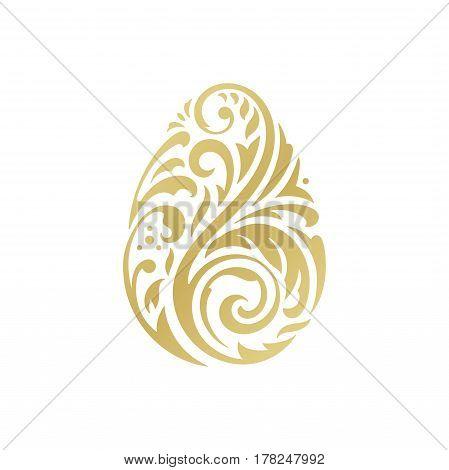 Decorative Golden Easter Egg from Flourishes Ornament on white background. Vector illustration eps 10.
