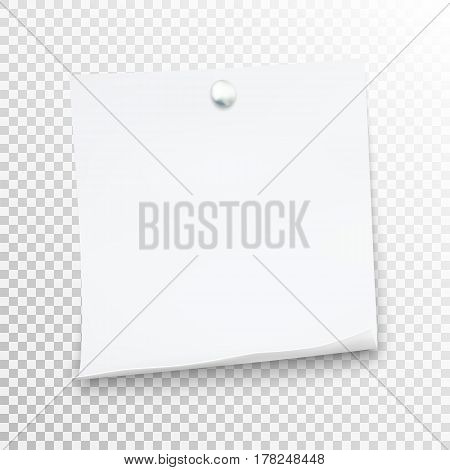 White Sticky Note Isolated On Background. Template For Your Projects.