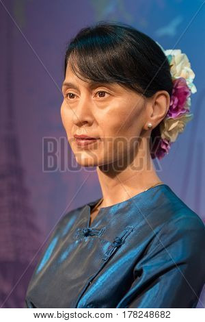 Bangkok - Oct 21: A Waxwork Of Aung San Suu Kyi On Display At Madame Tussauds On Oct 21, 2012 In Ban