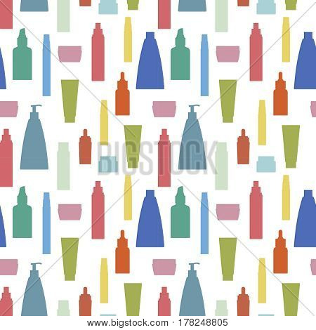 seamless pattern of multicolor cosmetic bottle on white background.