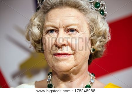 BANGKOK -JAN 29: A waxwork of Queen Elizabeth on display at Madame Tussauds on January 29 2016 in Bangkok Thailand. Madame Tussauds' newest branch hosts waxworks of numerous stars and celebrities