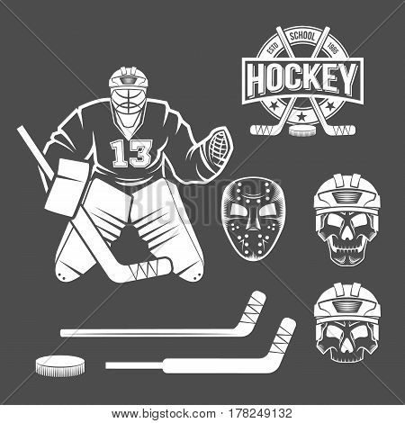 Hockey goalie elements. Skull, helmet, mask, hockey stick. puck. Winter sports. Retro logo design. Old school sport logo. Monochrome badges.