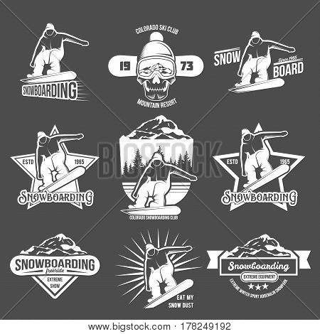 Set of Snowboarding logos and labels templates. Winter sports.Winter snowboard sport store badge. Emblem and icon Mountain Adventure insignia, symbol and element.  Retro logo design.