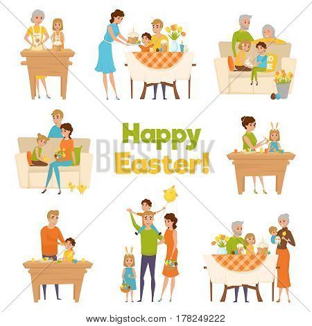 Family easter big set with flat cartoon characters of happy celebrating parents with children and grandparents vector illustration