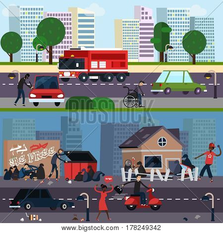 Downtown and ghetto character composition set distinctions of different segments of the population vector illustration
