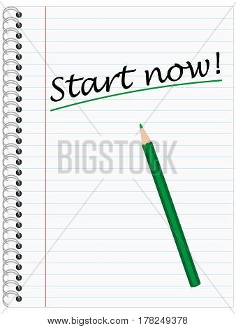 Start now Ring Bond Writing Pad with green Pencil and Lines