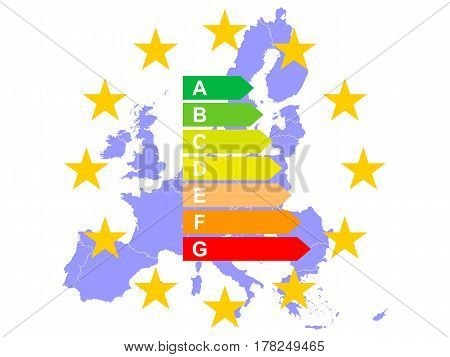 Europe saves Energy, Map of European Union with Energy Label