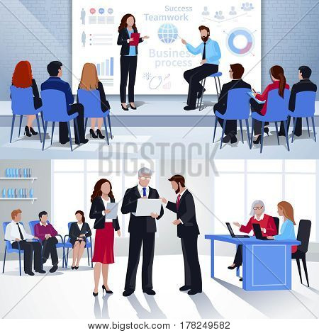 Coaching horizontal flat banners with corporate business training and mentoring at university isolated vector illustration