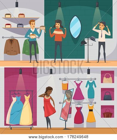 Two horizontal trying shop flat people composition set with man trying hat and woman trying on a dress vector illustration