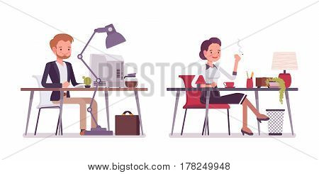 Set of young happy lady and gentleman in smart casual wear, sitting at the desk , working at the computer, smoking, self-employed modern people, coworking, full length, isolated, white background