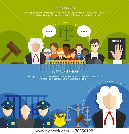 Two horizontal flat law banner set with trial by jury and just punishment headline vector illustration