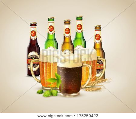 Bottles and cups with fresh cold dark and light beer realistic background vector illustration