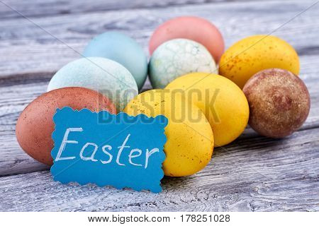 Many-colored Easter eggs. Easter handmade card. Easter topical attributes.