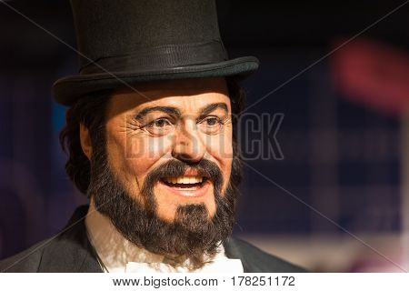 BANGKOK - JAN 29: A waxwork of Luciano Pavarotti on display at Madame Tussauds on January 29, 2016 in Bangkok, Thailand. Madame Tussauds' newest branch hosts waxworks of numerous stars and celebrities
