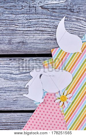 Paper animalistic silhouettes. Colorful patterned paper. Handmade decorations for Easter.