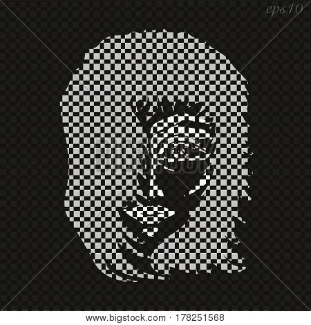Portrait of a young man Abstract author design style loft modern man shadow box gray hair eyes mouth black white illustration stock vector