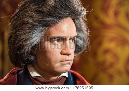 BANGKOK - JUL 22: A waxwork of Ludwig van Beethoven on display at Madame Tussauds on July 22, 2015 in Bangkok, Thailand. Madame Tussauds' newest branch hosts waxworks of numerous stars and celebrities
