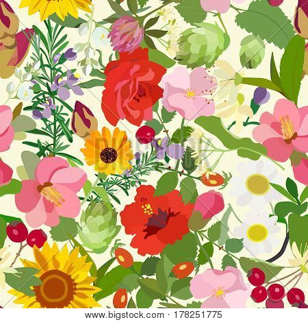 Colorful pattern of flowers of chamomile, sunflower, jasmine, rosehip, linden, roses on a light background. Vintage style.