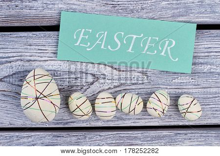 Styrofoam eggs and Easter card. White polystyrene eggs with ribbons. How to make Easter decor.