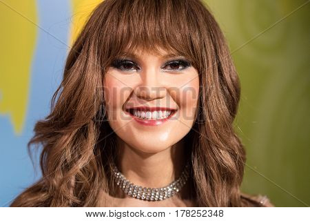 BANGKOK - JAN 29: A waxwork of Tata Young on display at Madame Tussauds on January 29, 2016 in Bangkok, Thailand. Madame Tussauds' newest branch hosts waxworks of numerous stars and celebrities