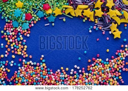 Sugar Sprinkle Dots, Colored Decoration For Cake And Bekery, A Lot Of Sprinkles As A Background