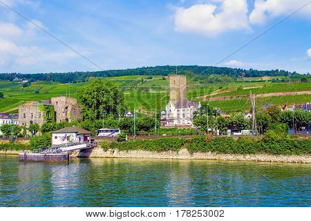 Rudesheim am Rhein famous town for wine making in the Rhine Gorge Germany
