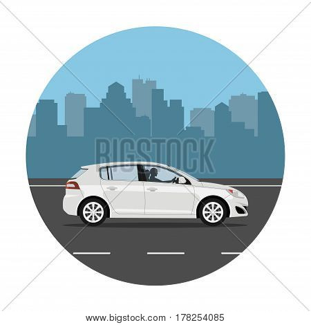 Car on the road over city background. Man driving the white hatchback. Vector illustration. Flat design without gradients.