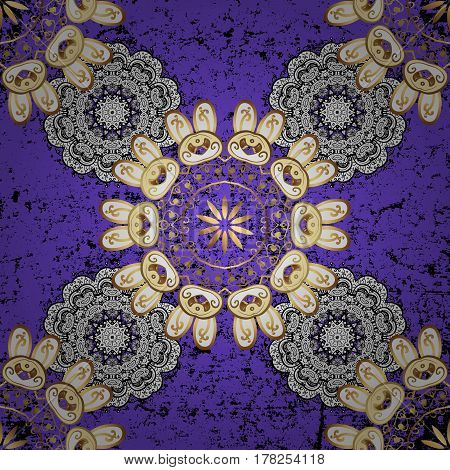 Christmas snowflake new year. Golden pattern on violet background with golden elements. Seamless vintage pattern on violet background with golden elements.